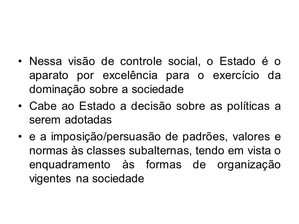 Nessa visão de controle social, o Estado é o aparato por excelência para o exercício da dominação sobre a sociedade