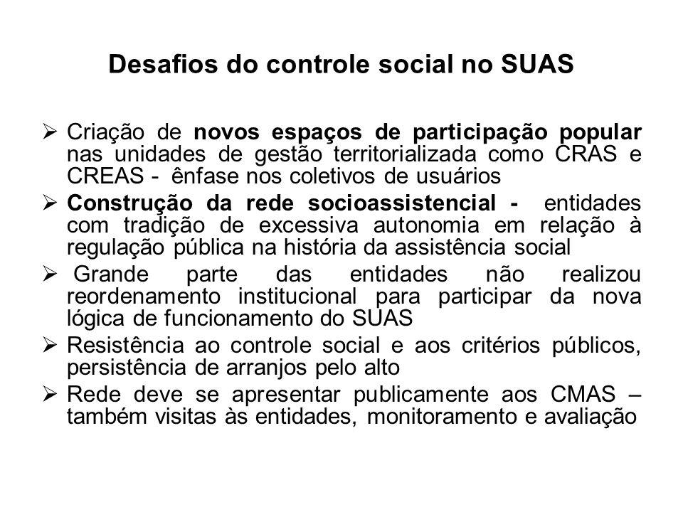 Desafios do controle social no SUAS