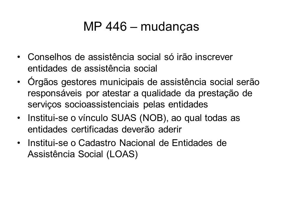 MP 446 – mudanças Conselhos de assistência social só irão inscrever entidades de assistência social.