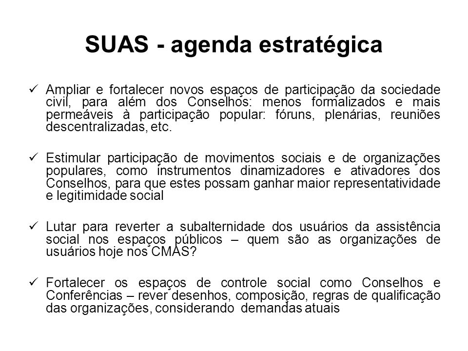 SUAS - agenda estratégica