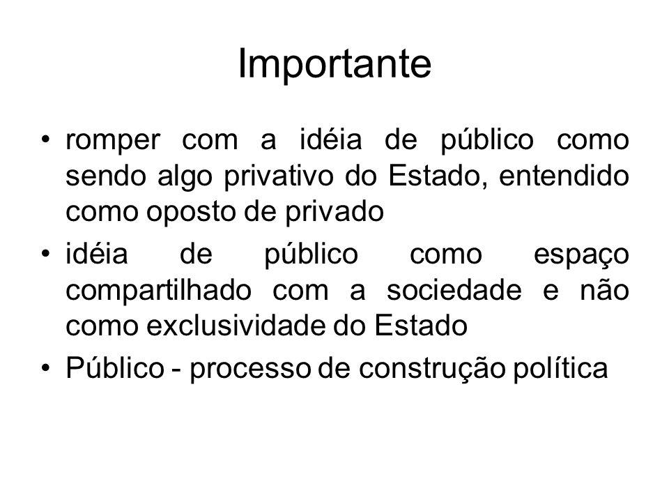 Importante romper com a idéia de público como sendo algo privativo do Estado, entendido como oposto de privado.