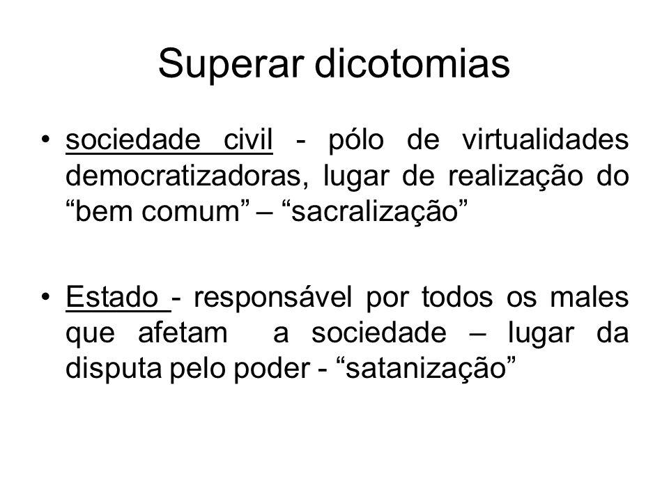 Superar dicotomias sociedade civil - pólo de virtualidades democratizadoras, lugar de realização do bem comum – sacralização