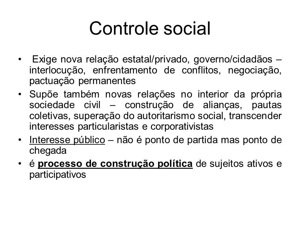 Controle social Exige nova relação estatal/privado, governo/cidadãos – interlocução, enfrentamento de conflitos, negociação, pactuação permanentes.