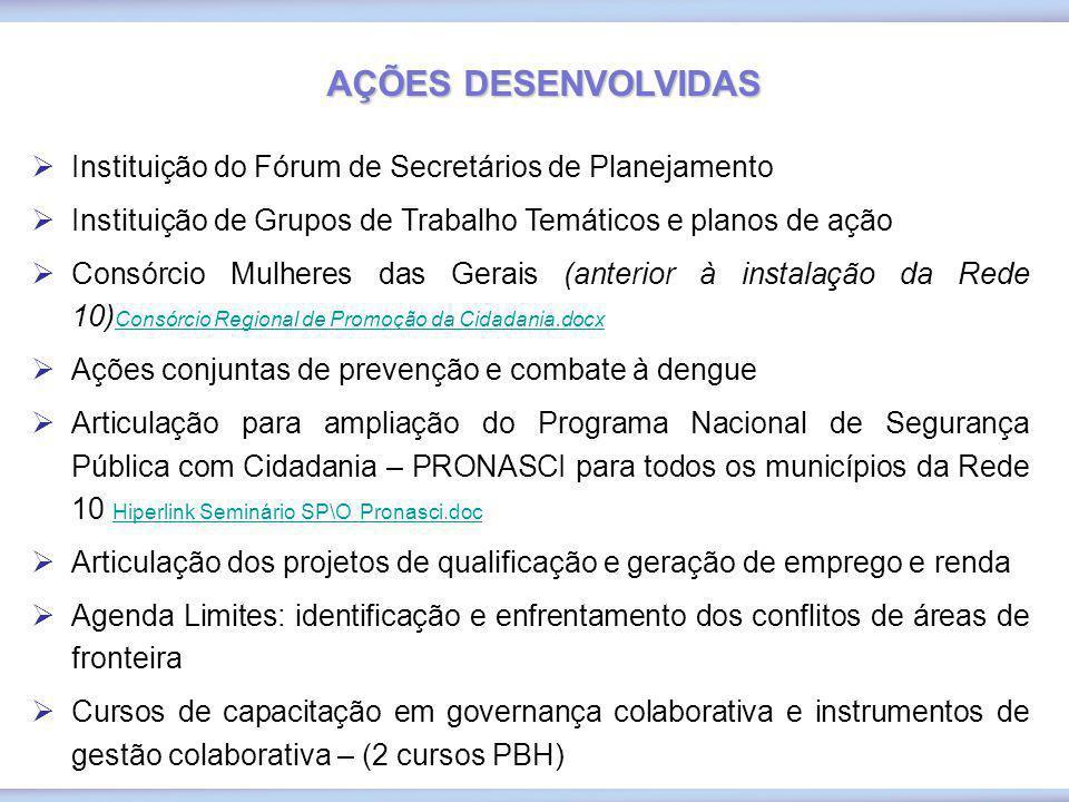 AÇÕES DESENVOLVIDAS Instituição do Fórum de Secretários de Planejamento. Instituição de Grupos de Trabalho Temáticos e planos de ação.