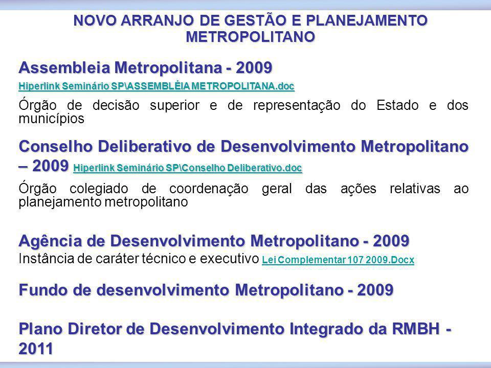 NOVO ARRANJO DE GESTÃO E PLANEJAMENTO METROPOLITANO