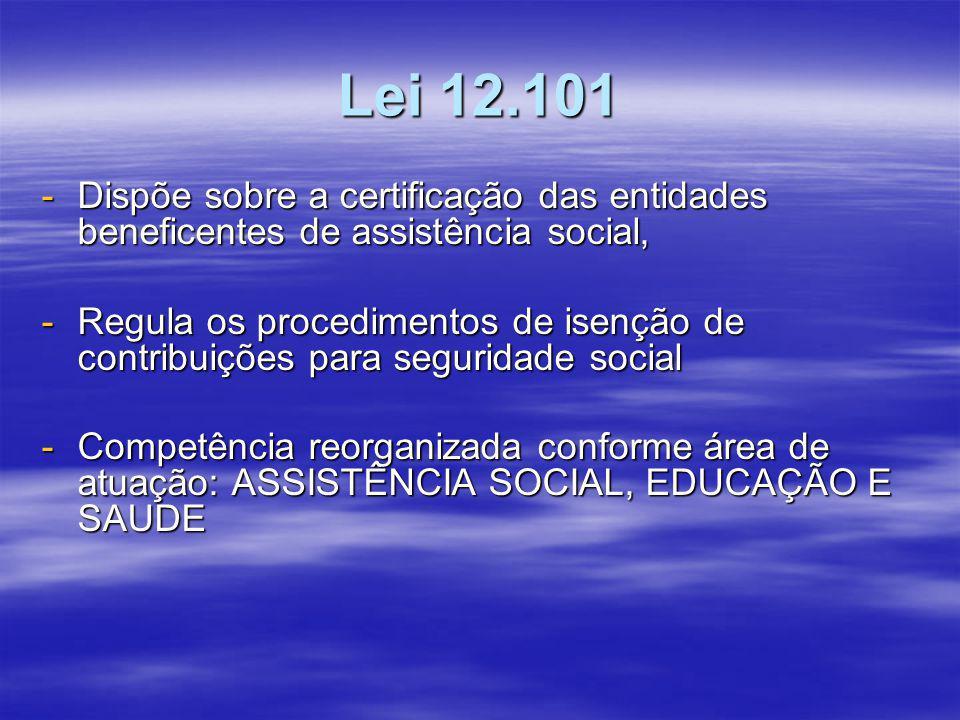 Lei 12.101 Dispõe sobre a certificação das entidades beneficentes de assistência social,
