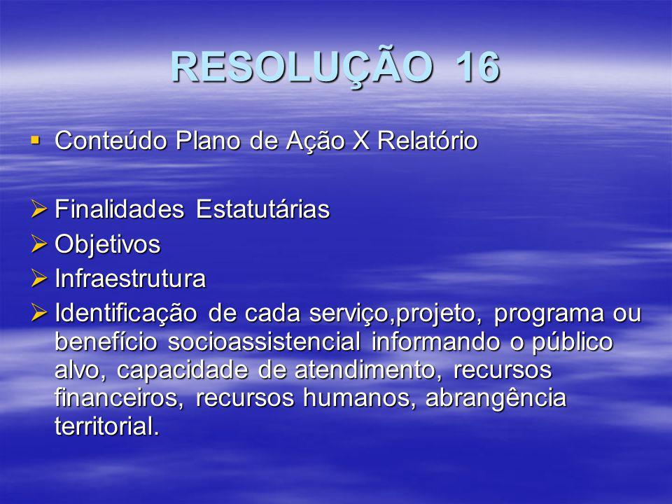 RESOLUÇÃO 16 Conteúdo Plano de Ação X Relatório