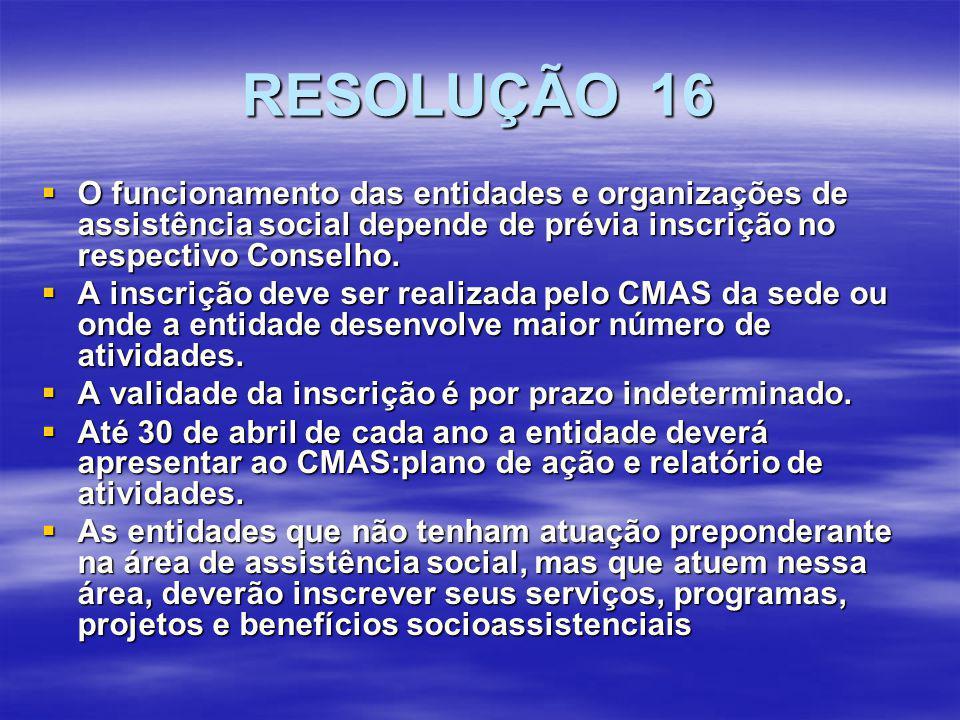 RESOLUÇÃO 16 O funcionamento das entidades e organizações de assistência social depende de prévia inscrição no respectivo Conselho.