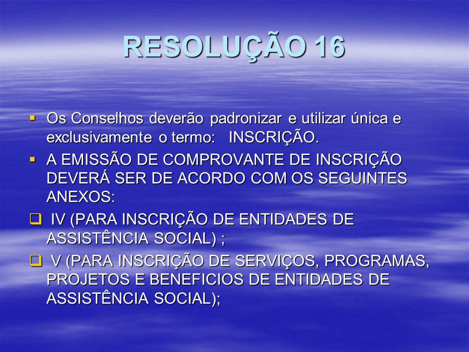 RESOLUÇÃO 16 Os Conselhos deverão padronizar e utilizar única e exclusivamente o termo: INSCRIÇÃO.