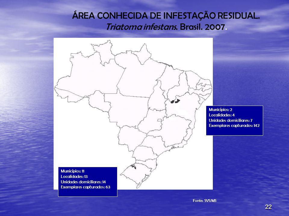 ÁREA CONHECIDA DE INFESTAÇÃO RESIDUAL. Triatoma infestans. Brasil. 2007.