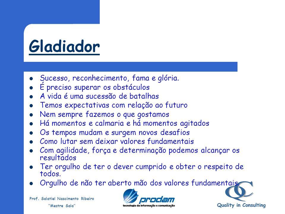 Gladiador Sucesso, reconhecimento, fama e glória.