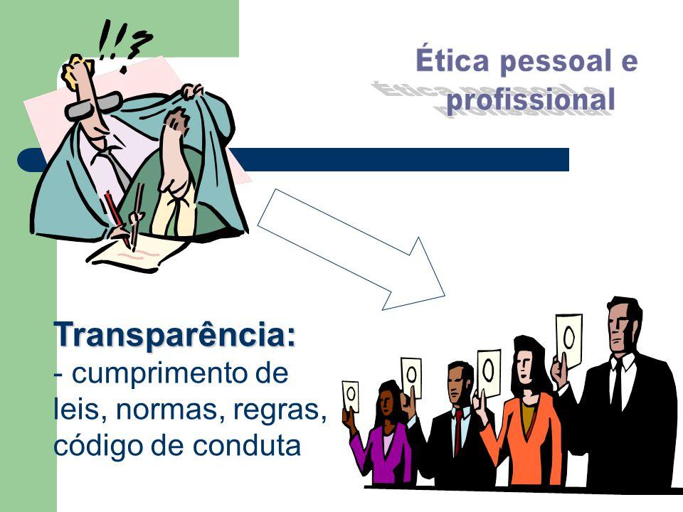 Transparência: - cumprimento de leis, normas, regras,