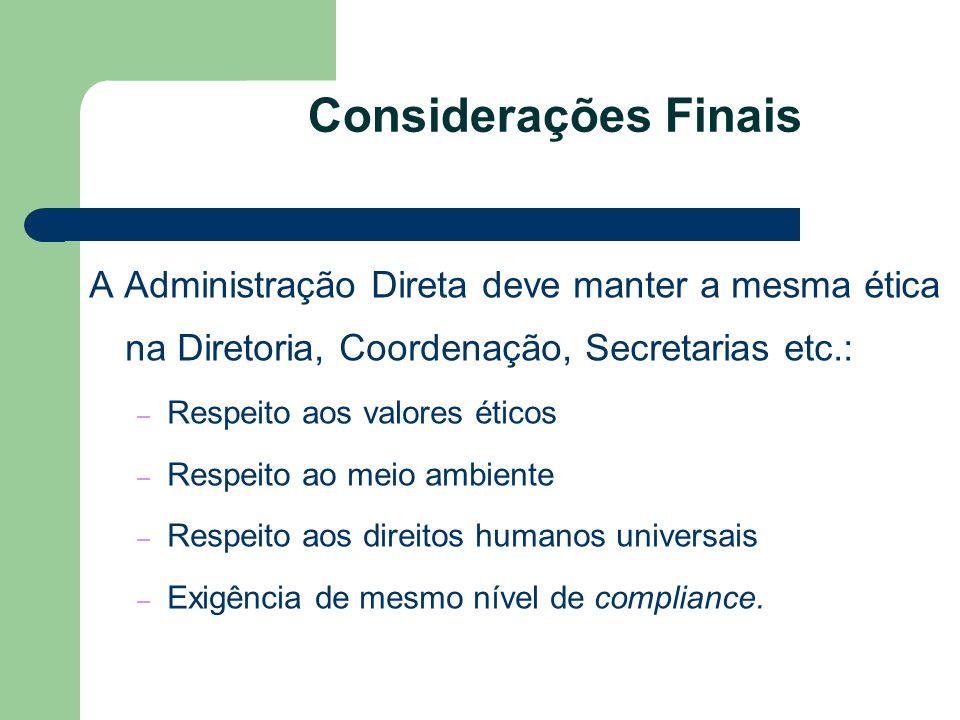 Considerações Finais A Administração Direta deve manter a mesma ética na Diretoria, Coordenação, Secretarias etc.: