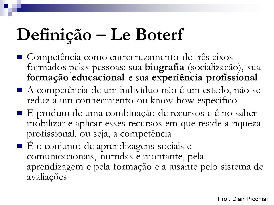 Definição – Le Boterf