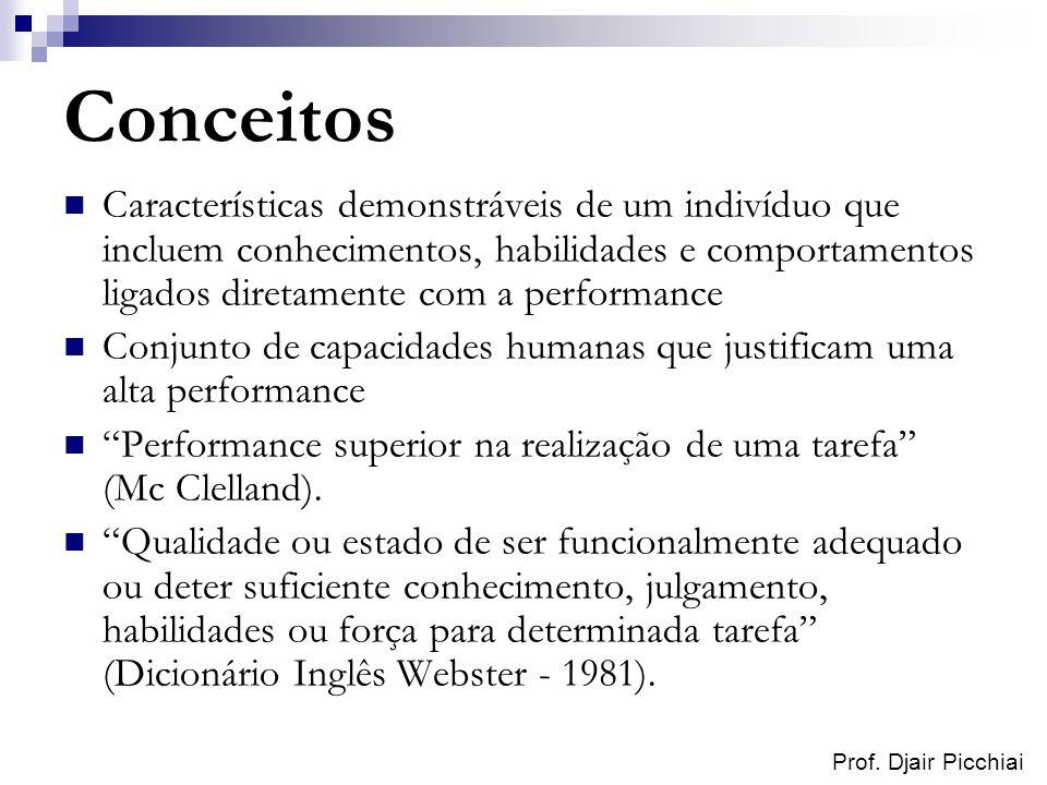 Conceitos Características demonstráveis de um indivíduo que incluem conhecimentos, habilidades e comportamentos ligados diretamente com a performance.