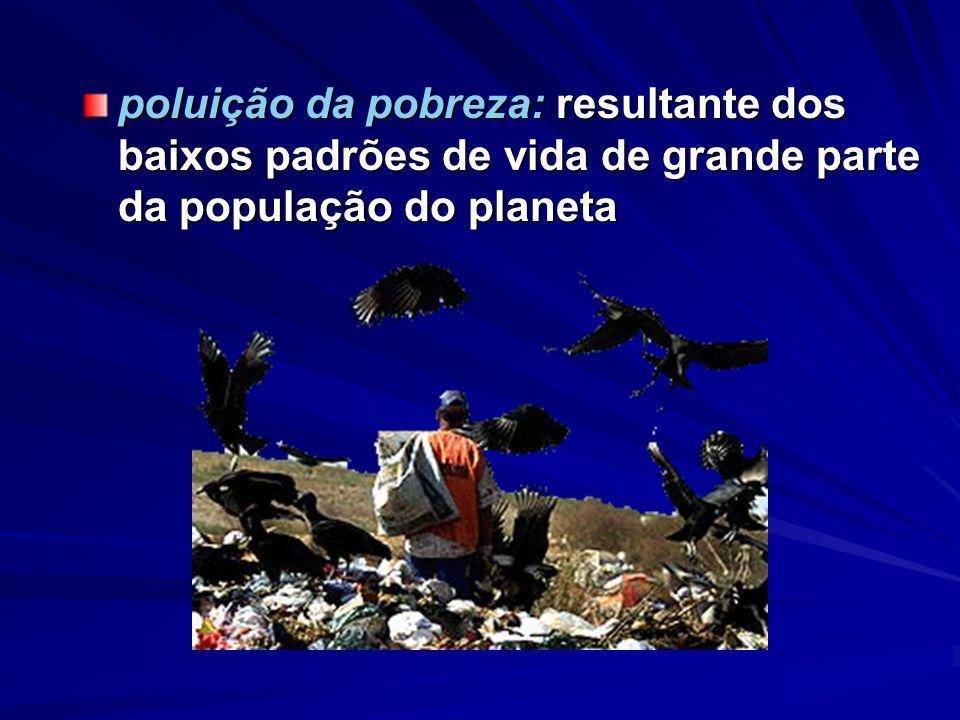 poluição da pobreza: resultante dos baixos padrões de vida de grande parte da população do planeta