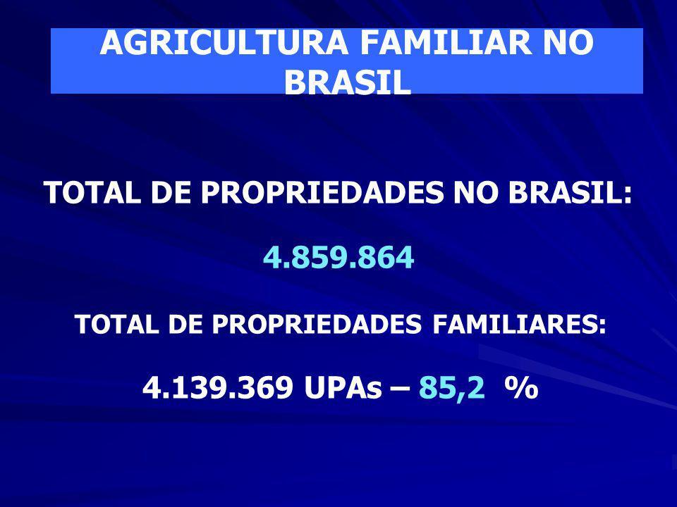 AGRICULTURA FAMILIAR NO BRASIL TOTAL DE PROPRIEDADES NO BRASIL:
