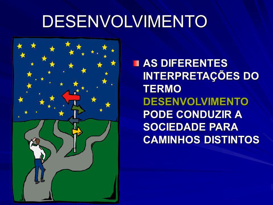 DESENVOLVIMENTO AS DIFERENTES INTERPRETAÇÕES DO TERMO DESENVOLVIMENTO PODE CONDUZIR A SOCIEDADE PARA CAMINHOS DISTINTOS.