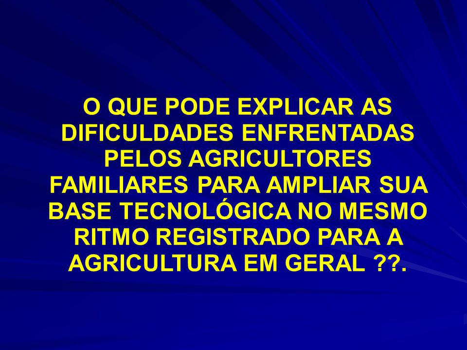 O QUE PODE EXPLICAR AS DIFICULDADES ENFRENTADAS PELOS AGRICULTORES FAMILIARES PARA AMPLIAR SUA BASE TECNOLÓGICA NO MESMO RITMO REGISTRADO PARA A AGRICULTURA EM GERAL .