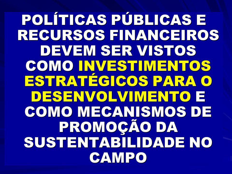 POLÍTICAS PÚBLICAS E RECURSOS FINANCEIROS DEVEM SER VISTOS COMO INVESTIMENTOS ESTRATÉGICOS PARA O DESENVOLVIMENTO E COMO MECANISMOS DE PROMOÇÃO DA SUSTENTABILIDADE NO CAMPO
