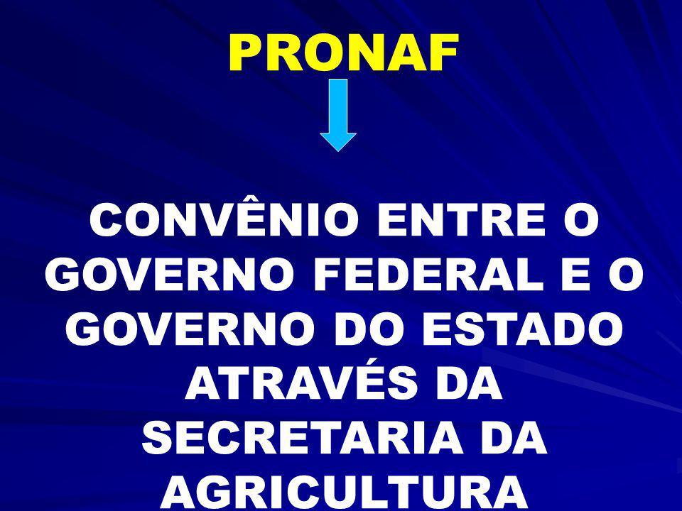 PRONAF CONVÊNIO ENTRE O GOVERNO FEDERAL E O GOVERNO DO ESTADO ATRAVÉS DA SECRETARIA DA AGRICULTURA