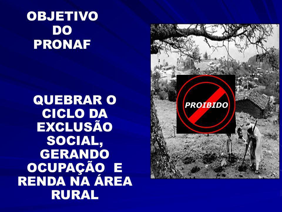 OBJETIVO DO PRONAF QUEBRAR O CICLO DA EXCLUSÃO SOCIAL, GERANDO OCUPAÇÃO E RENDA NA ÁREA RURAL
