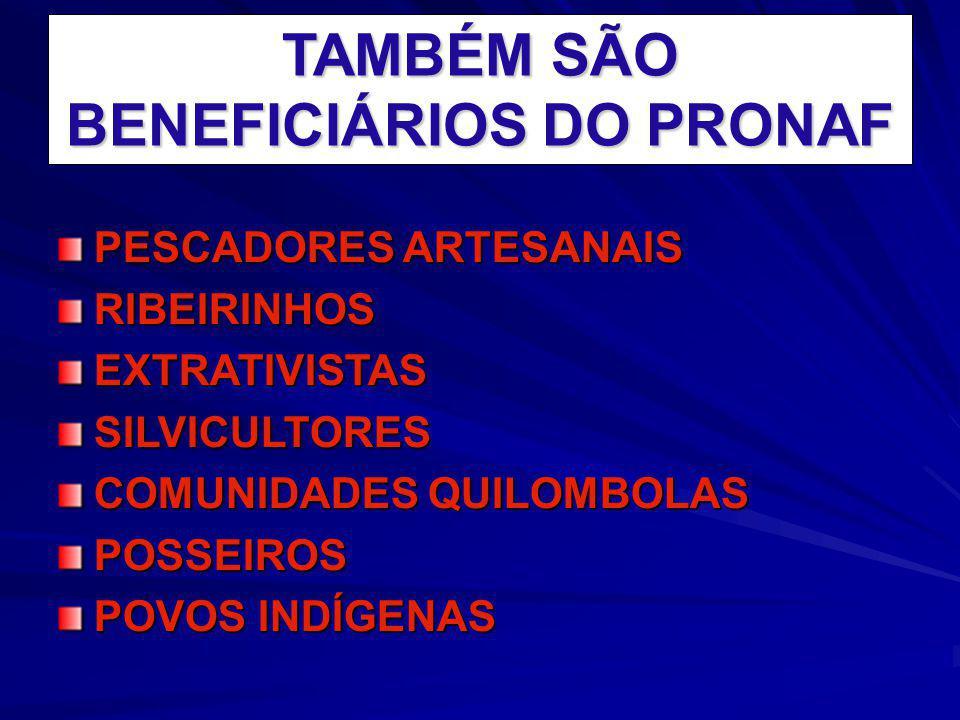 TAMBÉM SÃO BENEFICIÁRIOS DO PRONAF