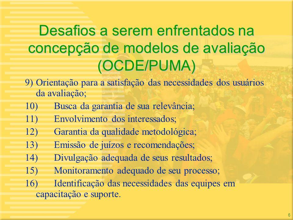 Desafios a serem enfrentados na concepção de modelos de avaliação (OCDE/PUMA)
