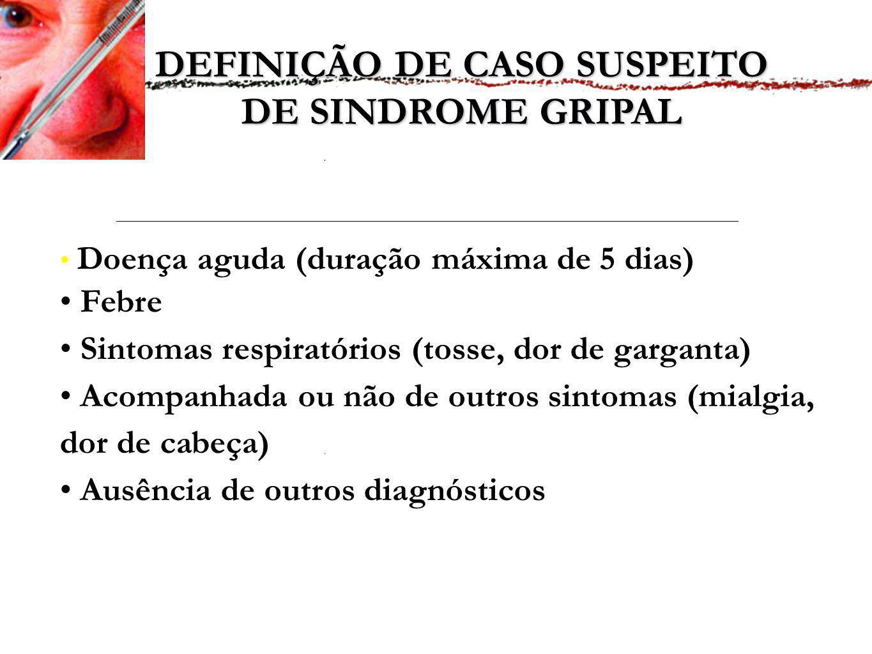 DEFINIÇÃO DE CASO SUSPEITO DE SINDROME GRIPAL