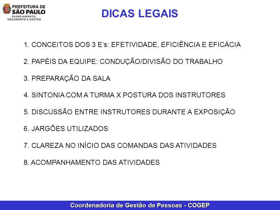 DICAS LEGAIS 1. CONCEITOS DOS 3 E's: EFETIVIDADE, EFICIÊNCIA E EFICÁCIA. 2. PAPÉIS DA EQUIPE: CONDUÇÃO/DIVISÃO DO TRABALHO.
