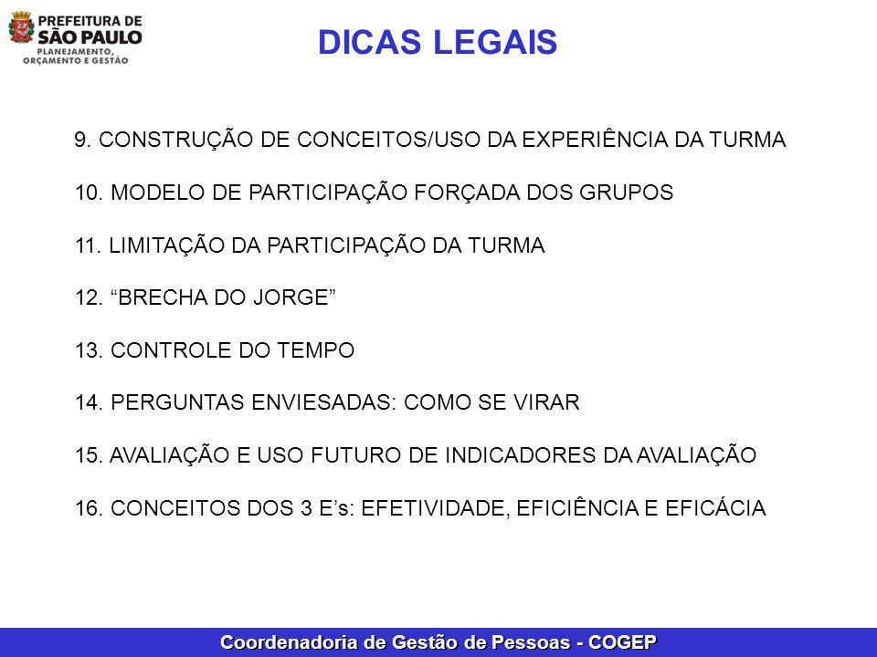 DICAS LEGAIS 9. CONSTRUÇÃO DE CONCEITOS/USO DA EXPERIÊNCIA DA TURMA