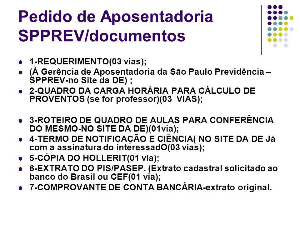 Pedido de Aposentadoria SPPREV/documentos