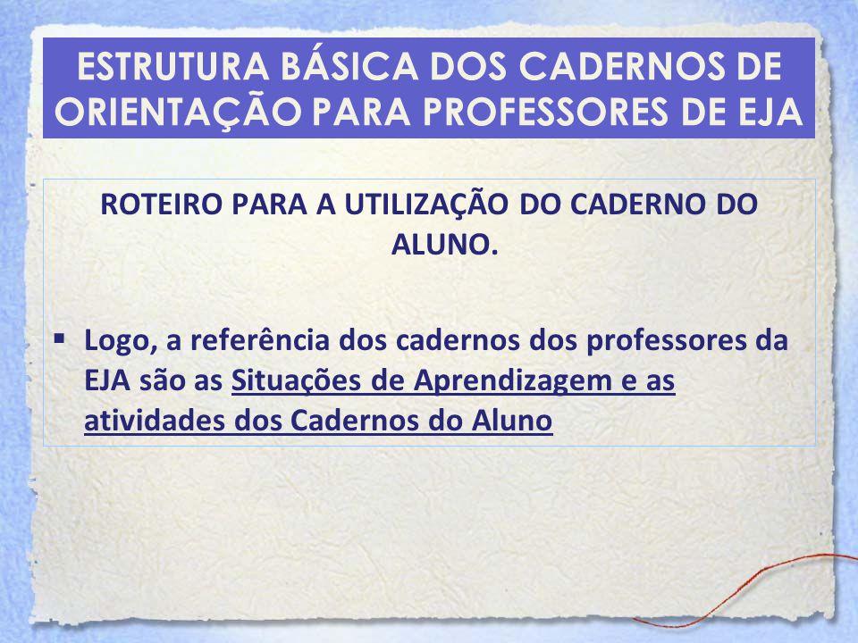 ESTRUTURA BÁSICA DOS CADERNOS DE ORIENTAÇÃO PARA PROFESSORES DE EJA