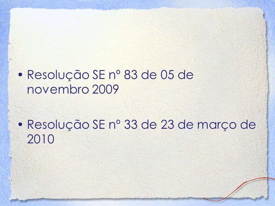 Resolução SE nº 83 de 05 de novembro 2009