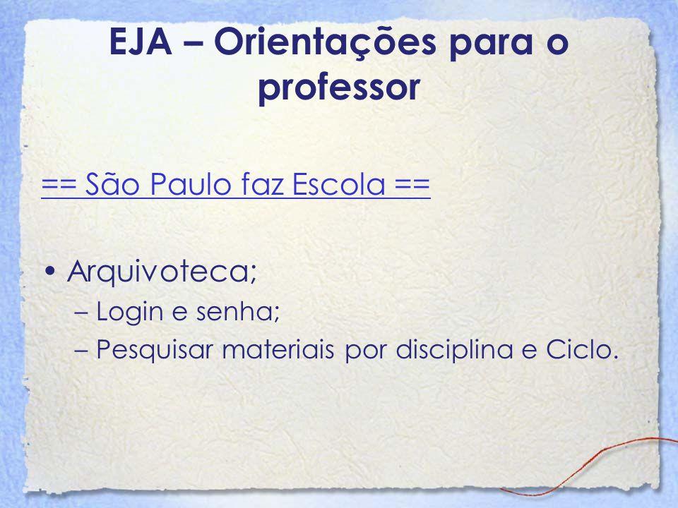 EJA – Orientações para o professor