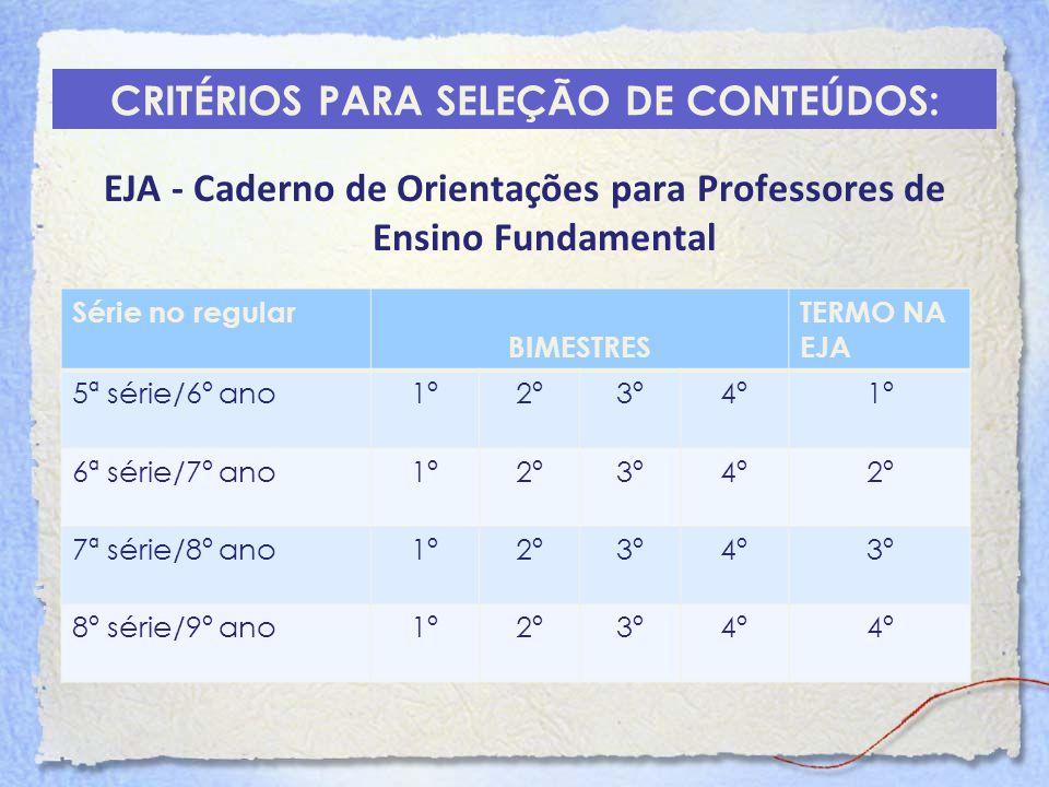 CRITÉRIOS PARA SELEÇÃO DE CONTEÚDOS: