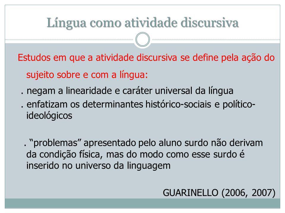 Língua como atividade discursiva