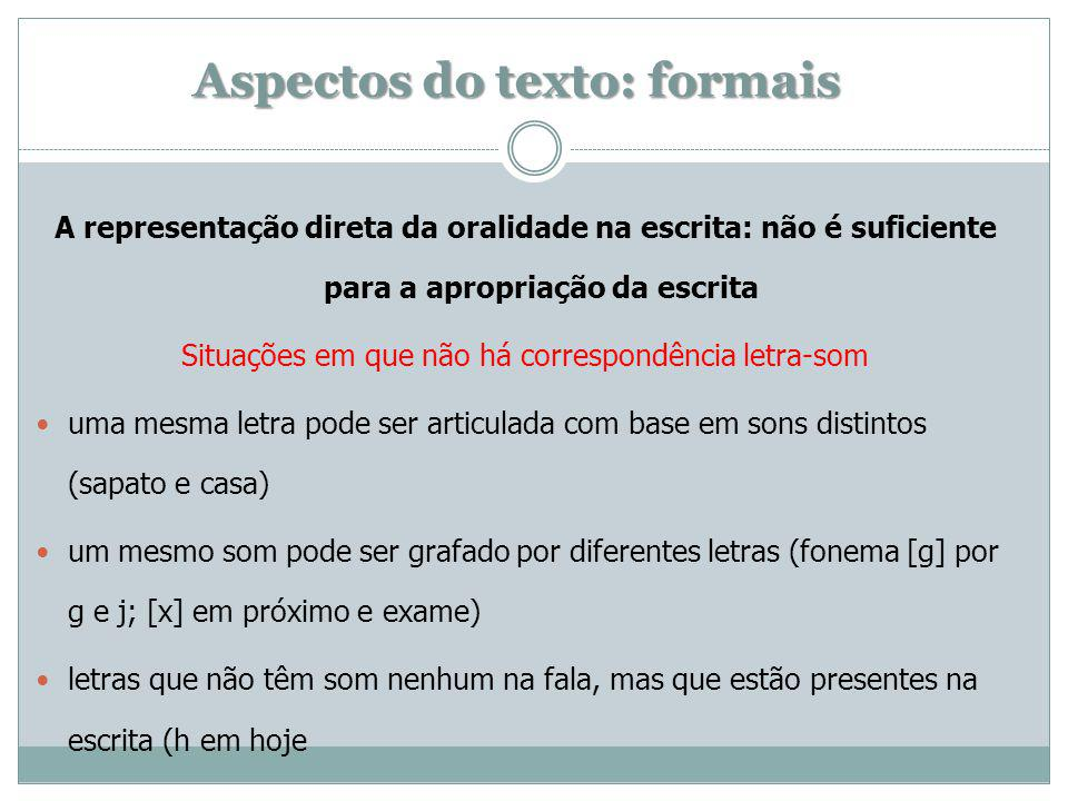 Aspectos do texto: formais
