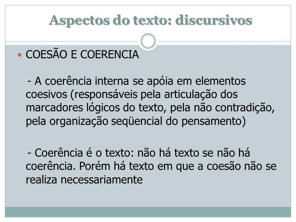 Aspectos do texto: discursivos