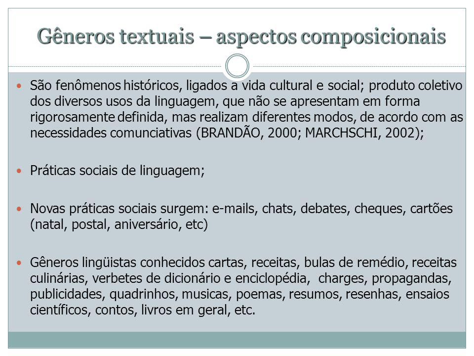 Gêneros textuais – aspectos composicionais