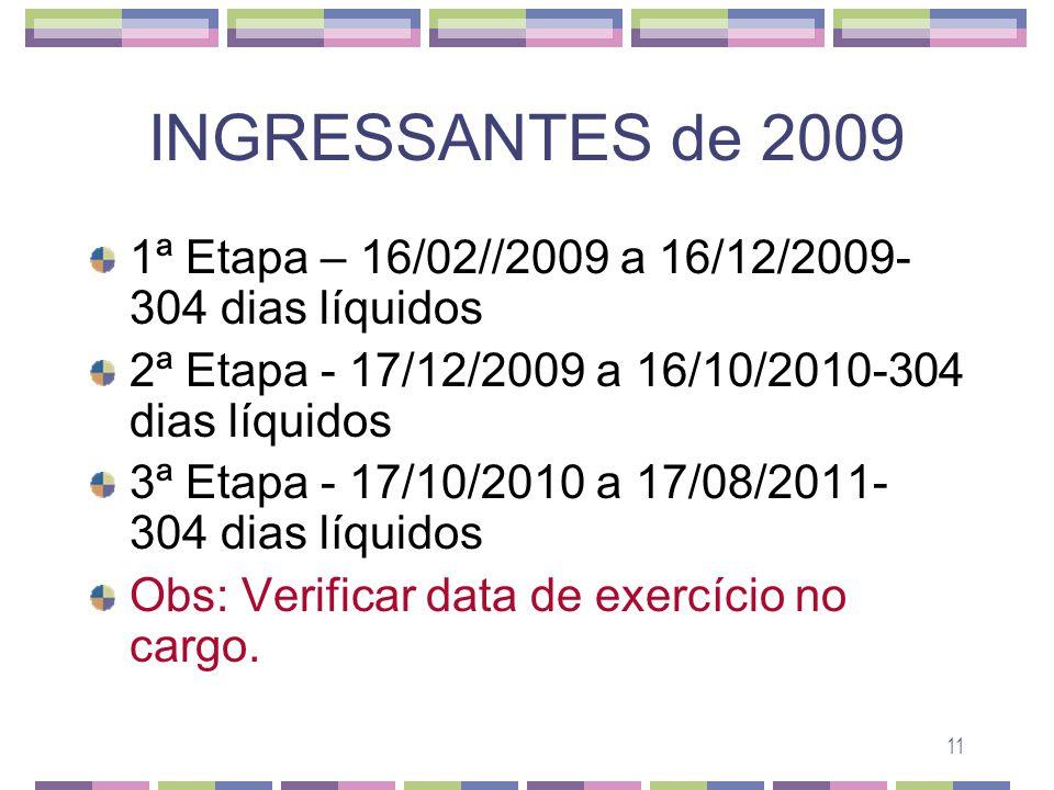 INGRESSANTES de 2009 1ª Etapa – 16/02//2009 a 16/12/2009- 304 dias líquidos. 2ª Etapa - 17/12/2009 a 16/10/2010-304 dias líquidos.