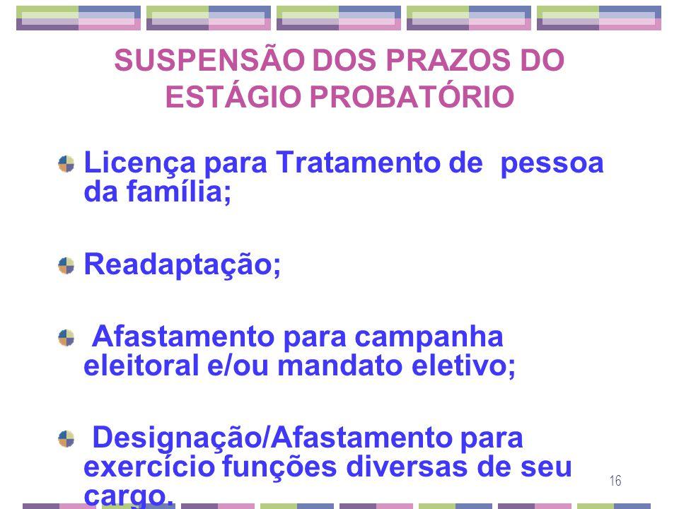 SUSPENSÃO DOS PRAZOS DO ESTÁGIO PROBATÓRIO