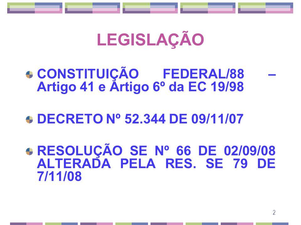 LEGISLAÇÃO CONSTITUIÇÃO FEDERAL/88 – Artigo 41 e Artigo 6º da EC 19/98