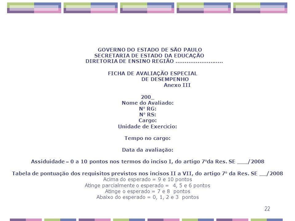 GOVERNO DO ESTADO DE SÃO PAULO SECRETARIA DE ESTADO DA EDUCAÇÃO DIRETORIA DE ENSINO REGIÃO ..........................