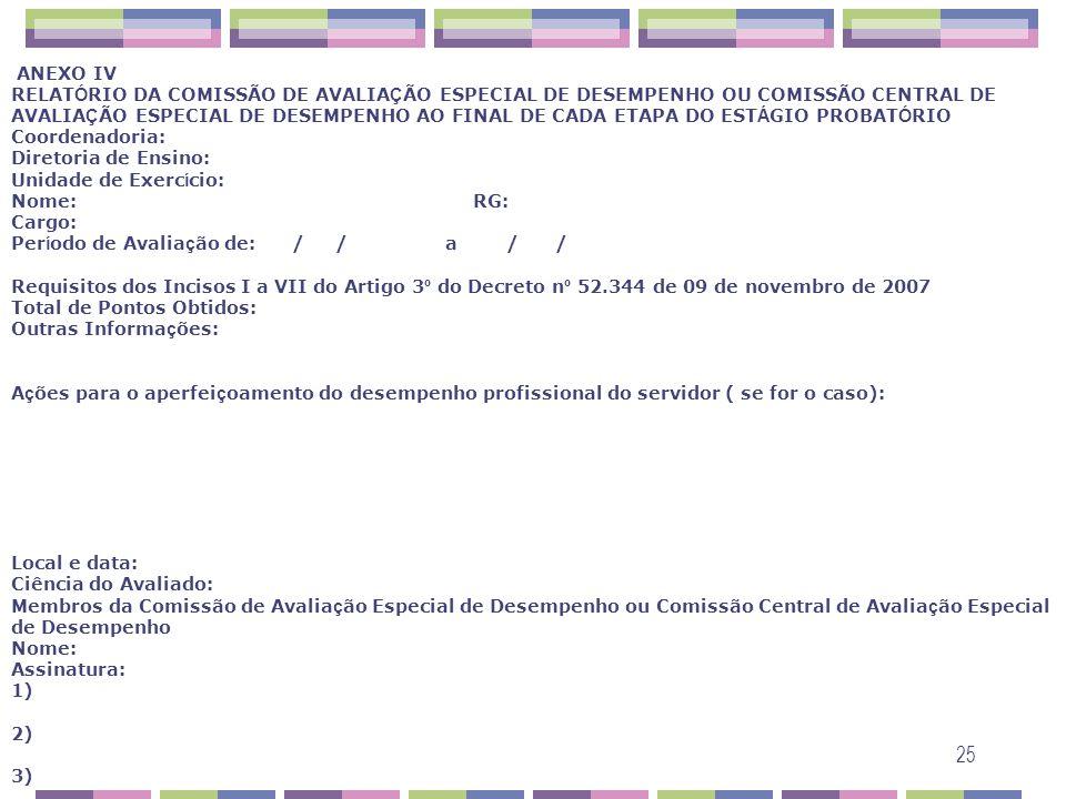 ANEXO IV RELATÓRIO DA COMISSÃO DE AVALIAÇÃO ESPECIAL DE DESEMPENHO OU COMISSÃO CENTRAL DE AVALIAÇÃO ESPECIAL DE DESEMPENHO AO FINAL DE CADA ETAPA DO ESTÁGIO PROBATÓRIO Coordenadoria: Diretoria de Ensino: Unidade de Exercício: Nome: RG: Cargo: Período de Avaliação de: / / a / / Requisitos dos Incisos I a VII do Artigo 3º do Decreto nº 52.344 de 09 de novembro de 2007 Total de Pontos Obtidos: Outras Informações: Ações para o aperfeiçoamento do desempenho profissional do servidor ( se for o caso): Local e data: Ciência do Avaliado: Membros da Comissão de Avaliação Especial de Desempenho ou Comissão Central de Avaliação Especial de Desempenho Nome: Assinatura: 1) 2) 3)