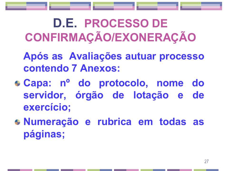 D.E. PROCESSO DE CONFIRMAÇÃO/EXONERAÇÃO