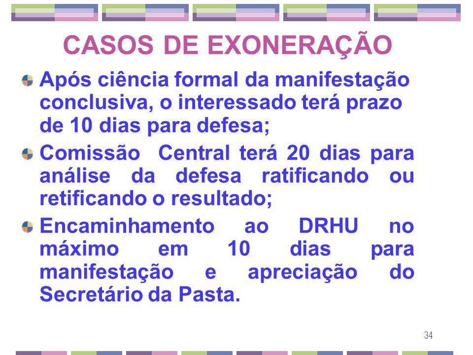 CASOS DE EXONERAÇÃO Após ciência formal da manifestação conclusiva, o interessado terá prazo de 10 dias para defesa;