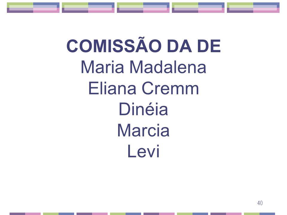 COMISSÃO DA DE Maria Madalena Eliana Cremm Dinéia Marcia Levi