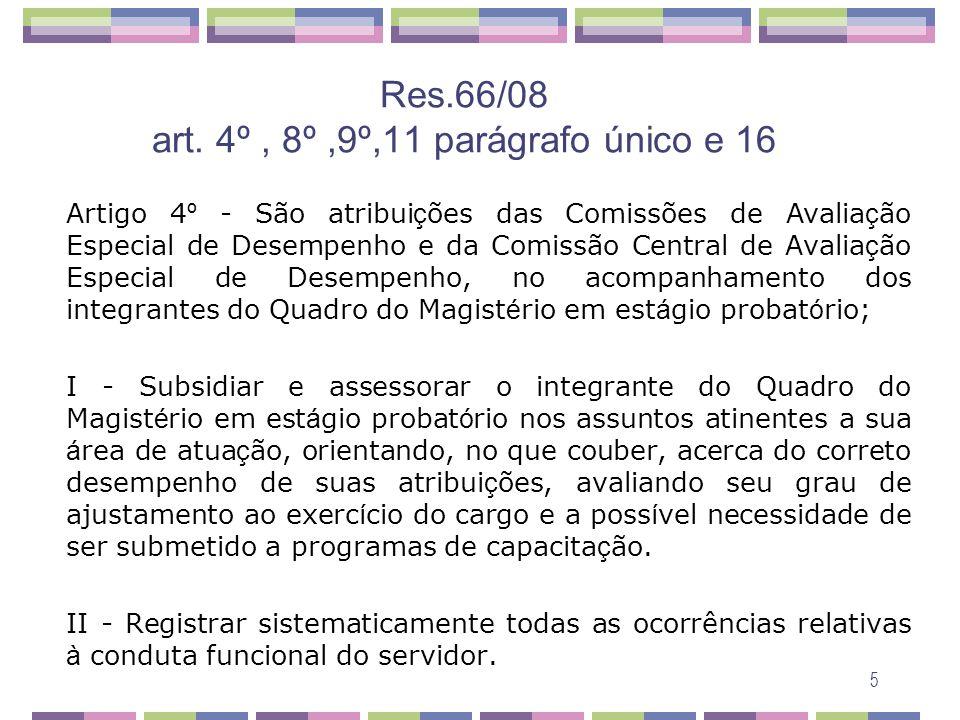 Res.66/08 art. 4º , 8º ,9º,11 parágrafo único e 16