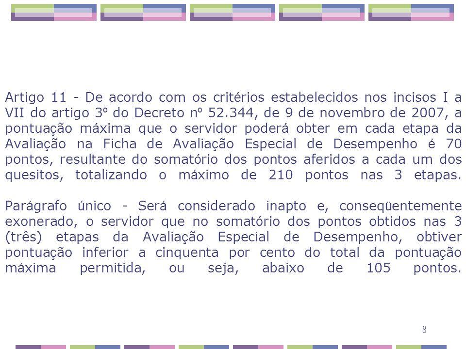 Artigo 11 - De acordo com os critérios estabelecidos nos incisos I a VII do artigo 3º do Decreto nº 52.344, de 9 de novembro de 2007, a pontuação máxima que o servidor poderá obter em cada etapa da Avaliação na Ficha de Avaliação Especial de Desempenho é 70 pontos, resultante do somatório dos pontos aferidos a cada um dos quesitos, totalizando o máximo de 210 pontos nas 3 etapas.
